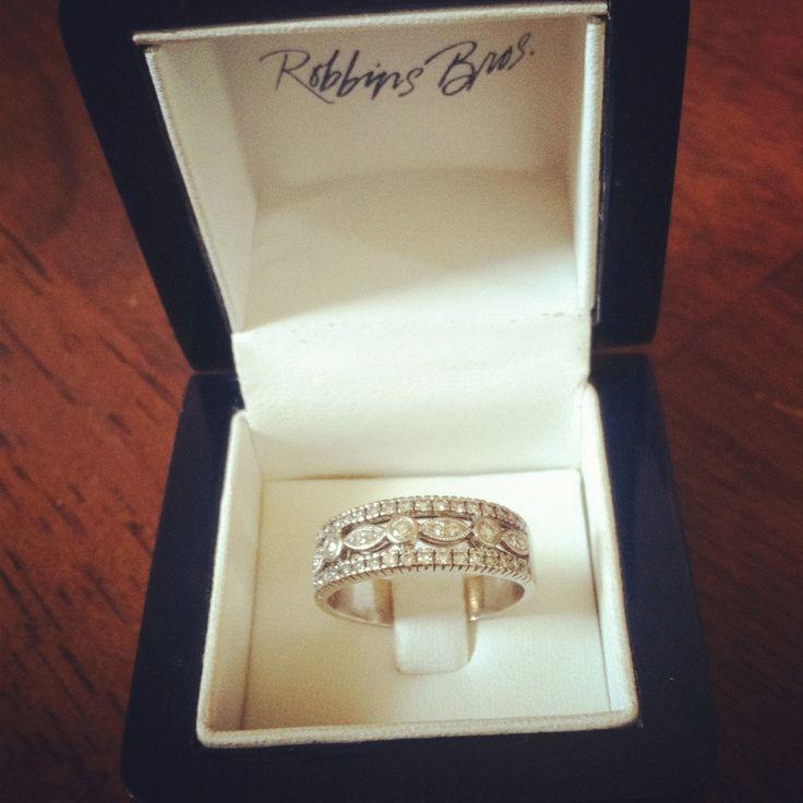 Vintage Inspired Wedding Ring Band White Gold size 8. $700.00, via Etsy.