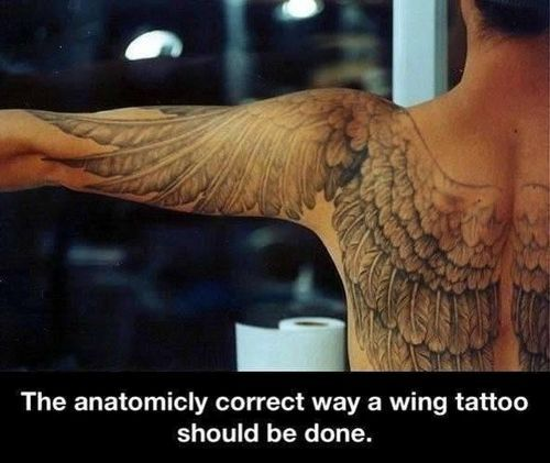 Would never get this (technically can't with my others) but this is so much cooler than the typical angel wing tattoos.