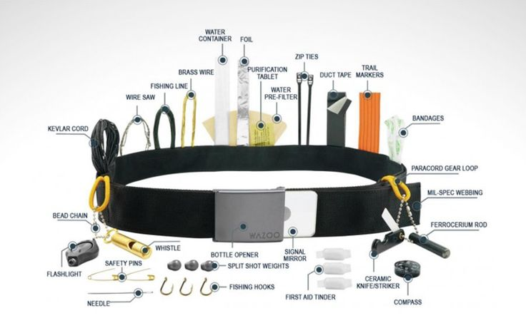 """Wazoo Survival Gear's smartly designed belt can pack a complete survival and utility kit in its band. It works as a money belt, and is available loaded with cords, zip ties, safety pins, bandages, trail markers, a compass..."" (via TheAwesomer)Read More"