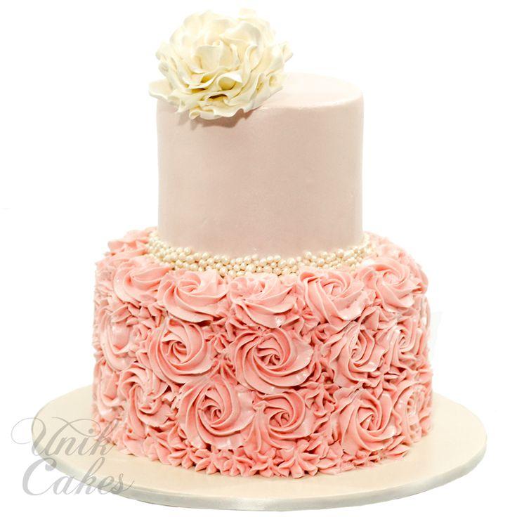 pink cake, christening cake, baptism, buttercream rosettes, blush pink, Daphe Oz, Philomena, sugar rose, simple decorated cake, gorgeous cake