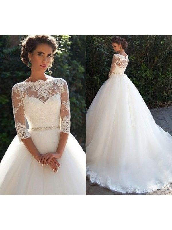 cef63b5b657 3 4 Sleeve Lace Wedding Dress With Long Train