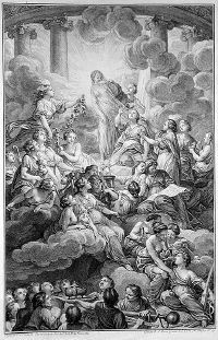 An engraving from the 1772 edition of the Encyclopédie; Truth, in the top center, is surrounded by light and unveiled by the figures to the right, Philosophy and Reason.