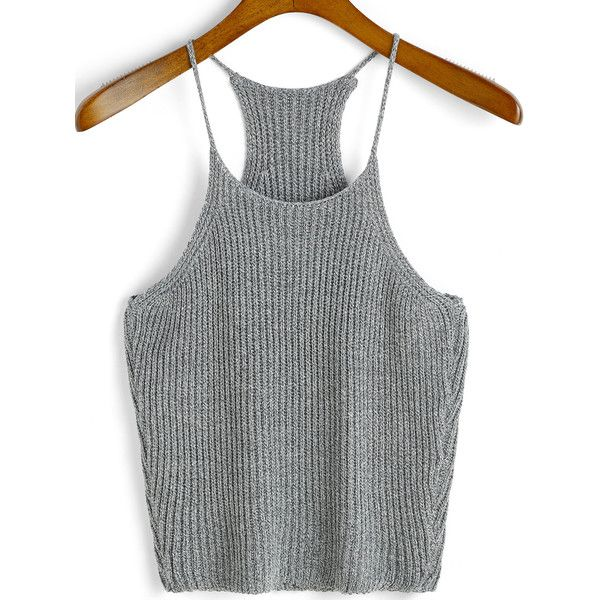 Spaghetti Strap Knit Grey Cami Top ($7.99) ❤ liked on Polyvore featuring tops, shirts, crop tops, crop, grey, cropped camisoles, crop shirt, cropped tops, halter tops and grey shirt