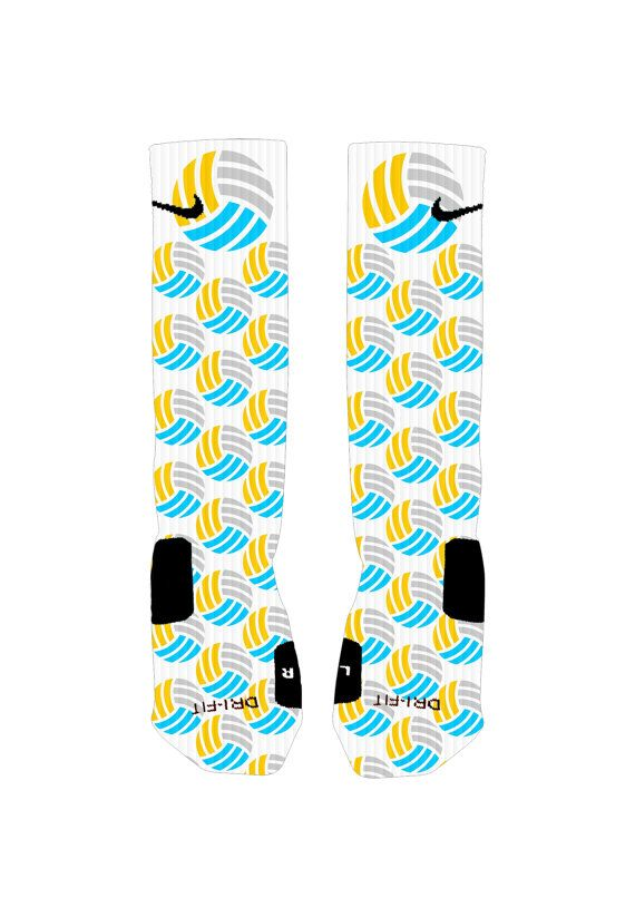 Play in or hang out in these awesome Volleyball Nike Elite socks. Youth fits sizes 3-5  Adult Small fits shoes size 4-6  Adult Medium fits shoe