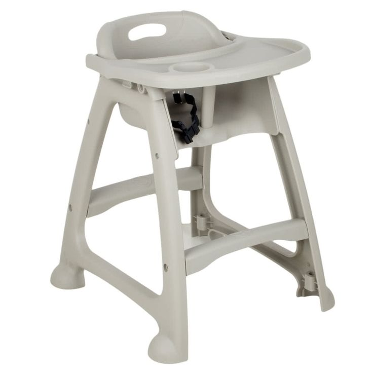 This Lancaster Table & Seating gray plastic high chair with tray is the perfect addition to your family-friendly restaurant! Made of durable polypropylene plastic, this high chair is sturdy, durable, and built to last. Its surface is easy to wipe down after each use, making it easy to keep clean and sanitary for your next guest. <br><br> This high chair has a classic design, complete with a seat belt in order to safely and comfortably accommodate children during a dining e...