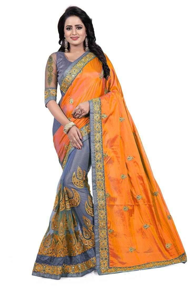 28ec59a2a2b408 Orange embroidered art silk saree with blouse in 2019 | Fashion ...