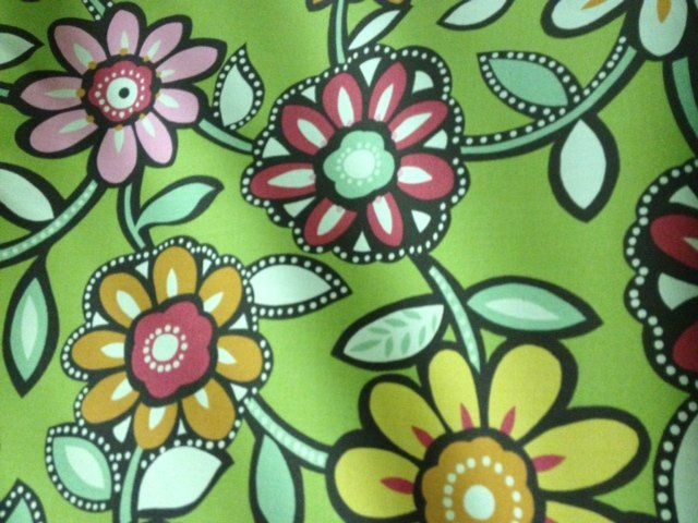 Scandinavian Modern Bold Retro Lime Green Floral Famous Maker Outdoor Fabric SALE! $12.99 per yard!  S577X