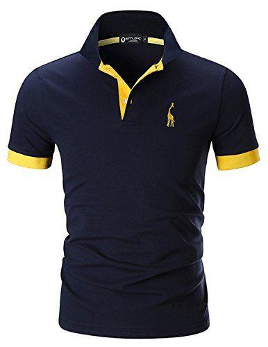 89043d1e7aa STTLZMC Polo para Hombre de Manga Corta Casual Moda Algodón Camisas Cuello  en Contraste Golf Tennis