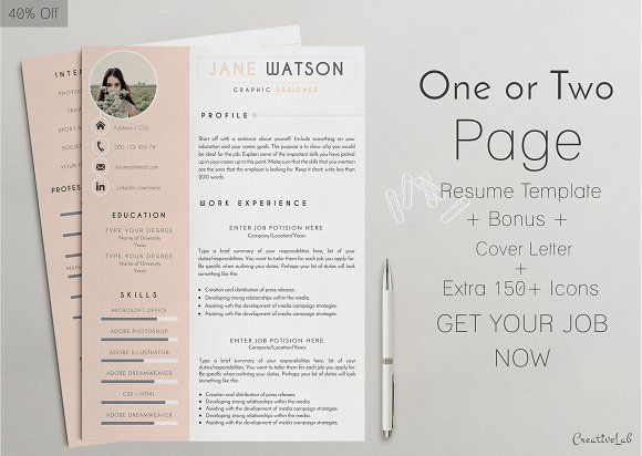 15 best One Page Resume Template images on Pinterest Resume - printable resume template