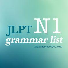 JLPT N1 Grammar List