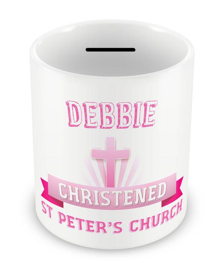 PERSONALISED Girls Christening MONEY BOX - Gift Idea Baby Piggy bank Great #43  sc 1 st  Pinterest & 64 best Printed ceramic money boxes images on Pinterest | Money ... Aboutintivar.Com