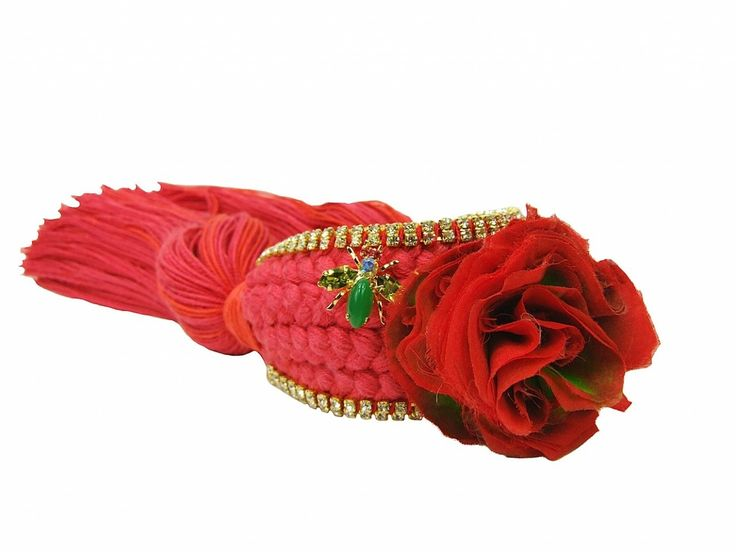 Braided cuff in crimson braid with hand-made silk flower - Jolita Jewellery.  ON SALE NOW. Can be made in OTHER COLOURS. Was £300 now £175.