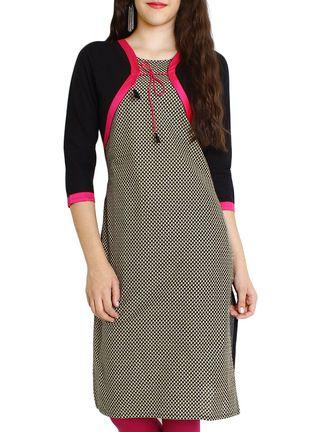 Buy Azira black,white,pink cotton regular kurta Online, , LimeRoad