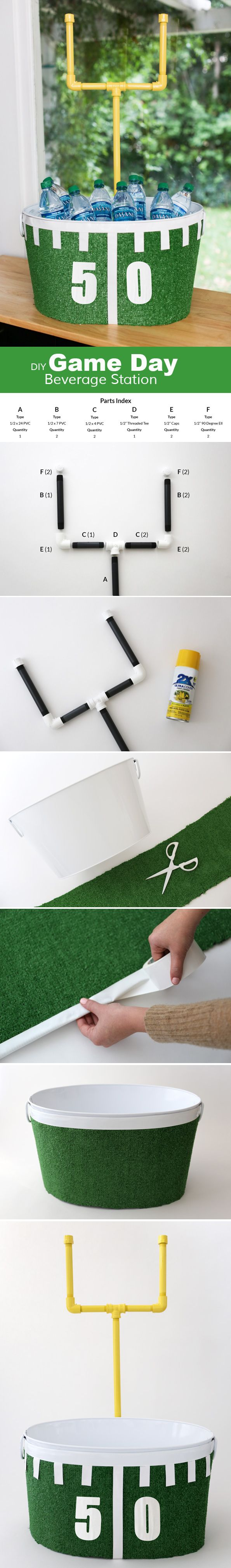 Make this Football beverage tub for the big game this weekend! #football #ad #diy