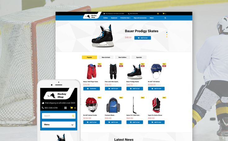 12+ Excellent Sports Equipment Store Themes for PrestaShop - Ice Hockey Shop