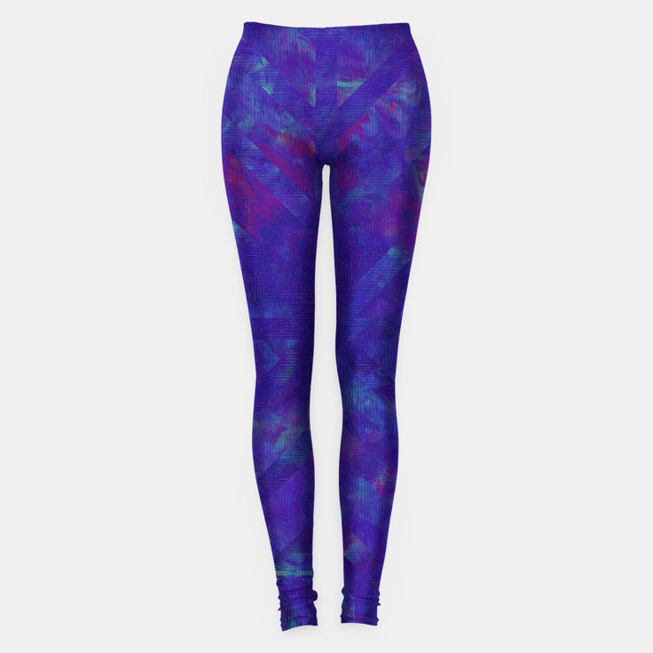 Painted Geometry 1 Leggings by Fimbis  _________________________________ purple, violet, ultra violet, stripes, cyan, fluid art, fluid painting, apparel, mens wear, women wear, kids wear, fashionista, fashion, style, colour of the year, color of the year, leggings, yoga, yoga pants,