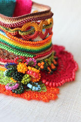 Heliamphora Ionasi ... Freeform Crochet Cuff by irregularexpressions