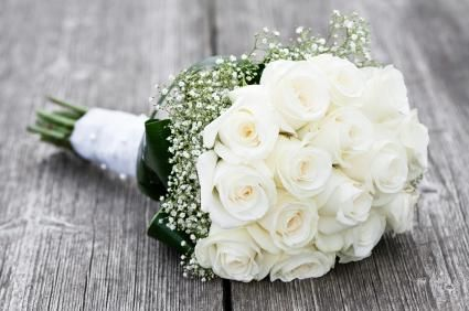simple white Bridesmaids Flowers | Approximately 15 roses; more if you want a larger bouquet Enough baby ...