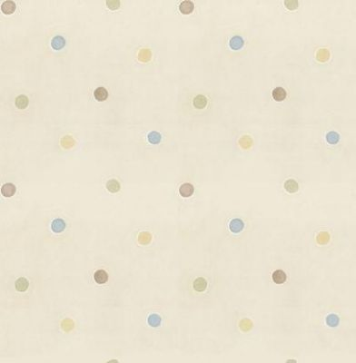 Dotty (DL30751) - Albany Wallpapers - A fun kids wallcovering with geometric spots. Showing in pale pastel colours on a cream background. Other colours available. Please request a sample for true colour match.
