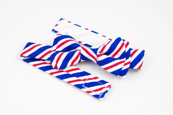 Postal Striped Boys Bow Tie Adjustable by littlejohnneckwear