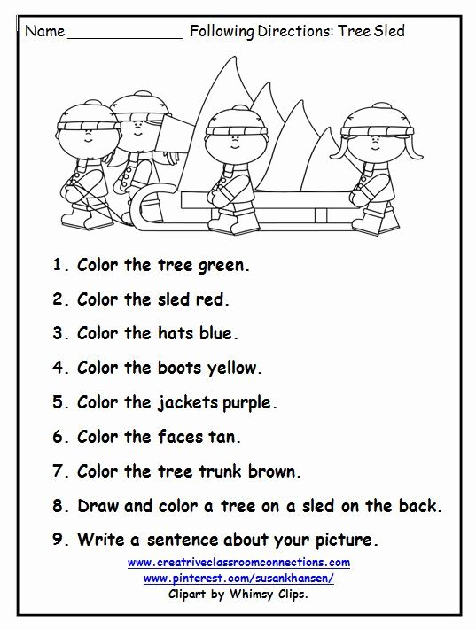 Follow Directions Worksheet Preschool | Speech activities ...