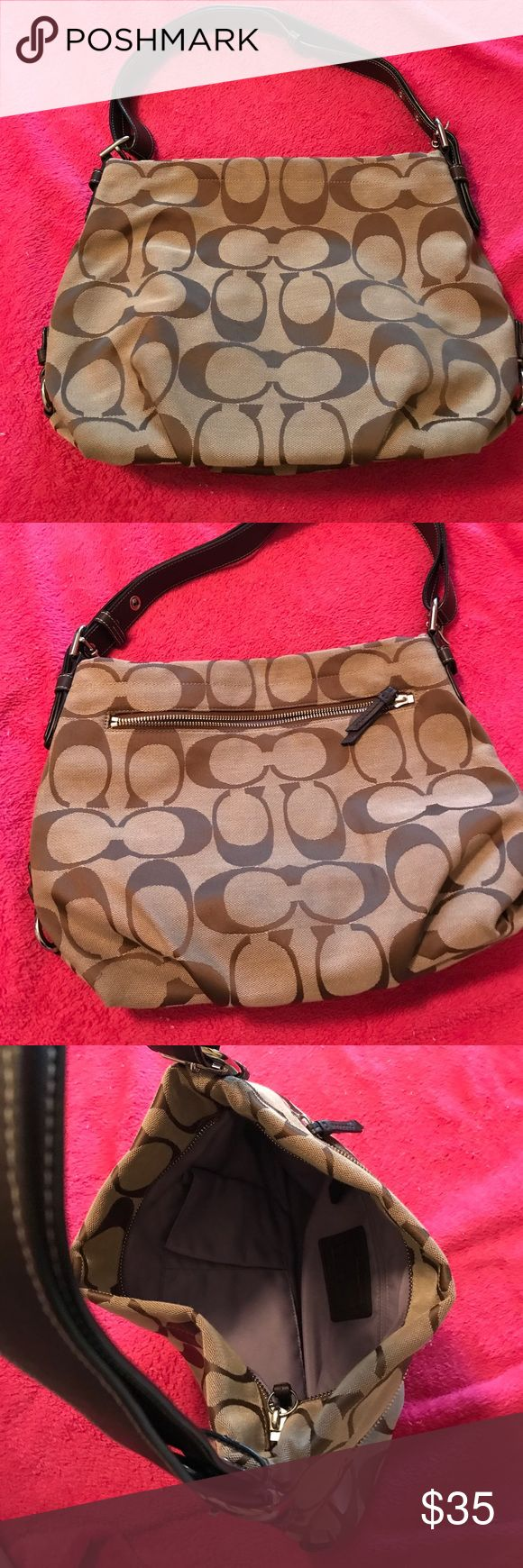 Authentic Coach Pocketbook Coach Pocketbook with the signature Coach pattern! Tons of room & an extendable strap! No signs of wear & no stains. (Darker colors in photo are shadows from light) Kept in a smoke free home! Great Condition!! Coach Bags