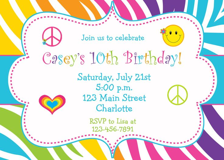 256 best new invitations images on pinterest birthday invitation rainbow zebra girls birthday party invitation peace sign happy face hearts you print or i print stopboris Images