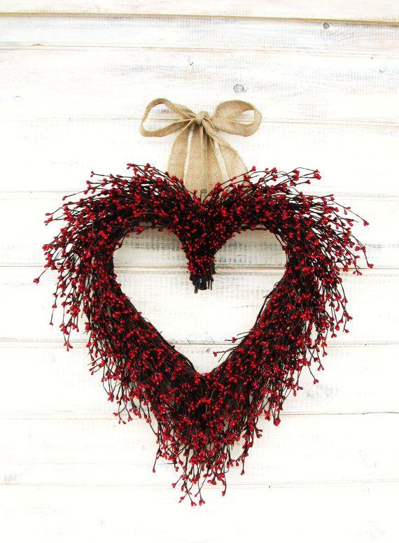 BURLAP RED BERRY Heart Wreath-Valentines Door Wreath-Wedding Decor-Wedding Gift-Scented Cinnamon Sticks-Custom Choose Ribbon- Scent