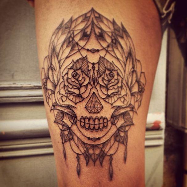 Tatouage tête de mort mexicaine graphique