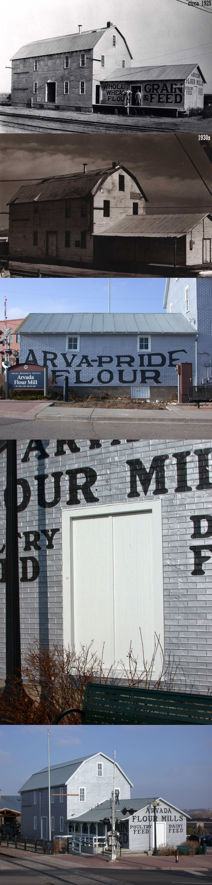 """Today white flour is anything but glorified, but in the 1920s, Gene Benjamin, founder of the Arvada Flour Mill in Jefferson County, was so known for his high-quality white flour that he held a contest to name it, plastering the winning entry """"Arva-Pride"""" on the side of his mill. In 1944, he sold the mill to Louis Schaaf and Frank Tiller, son of a Colorado gold miner, who kept the 1923 mill running until the 1950s. #preserveCO #yum"""