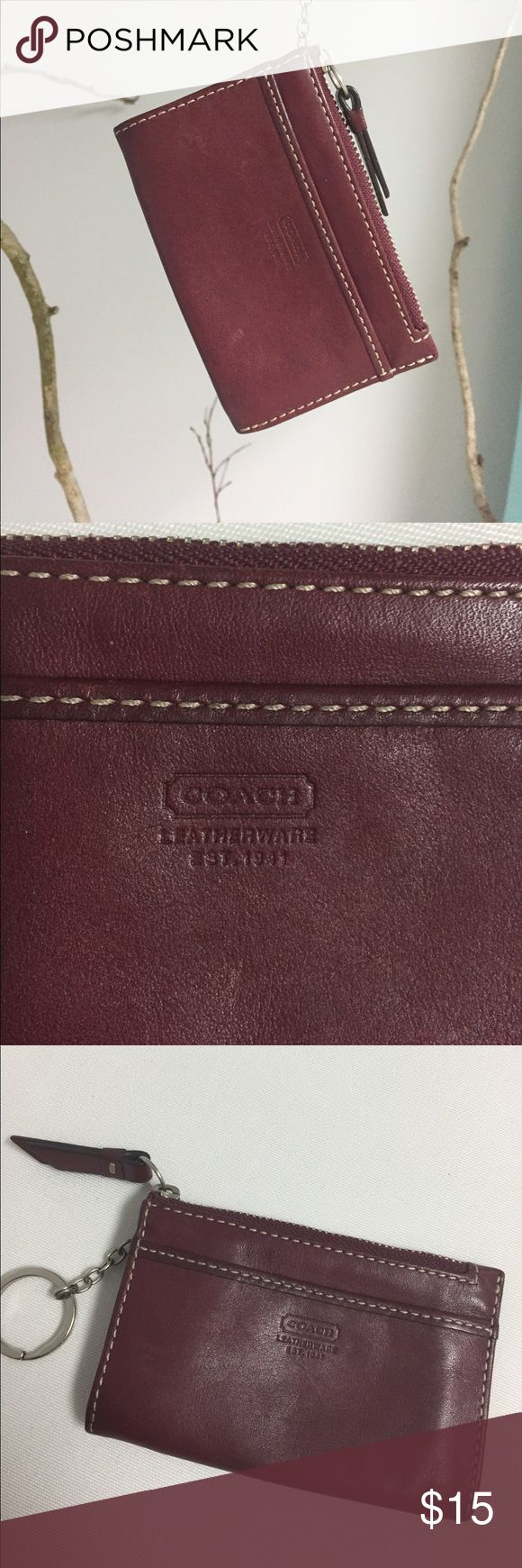 "Coach Leather change wallet Authentic Butter soft, cognac color leather Coach change wallet  has a center zip pouch and 2 side pockets perfect for cards. Key ring attachment means you can clip this to you keys and always have everything you need in one place. 4.5x3"" Coach Accessories Key & Card Holders"