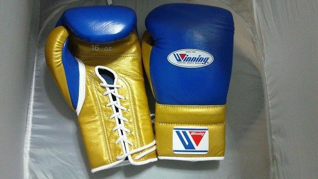 7d51d407333 WINNING Boxing Gloves MS-600 Blue GOLD Lace Up Pro Type Training 16 oz Japan