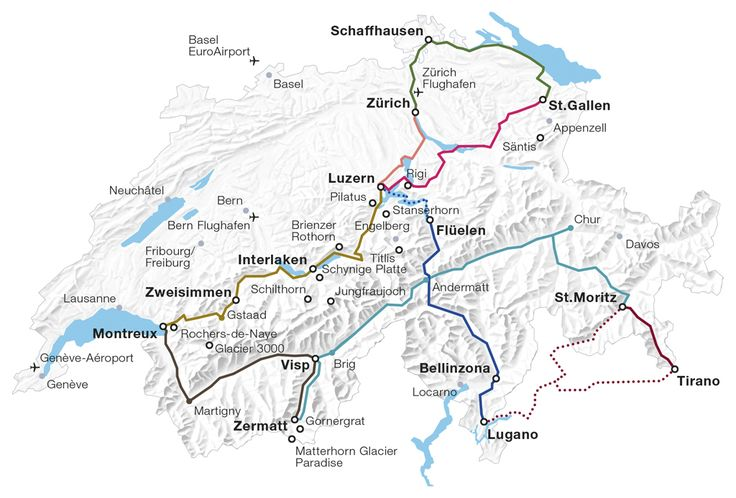 The Grand Train Tour of Switzerland comprises the most attractive panorama rail routes across the country. The tour can even be previewed interactively online.