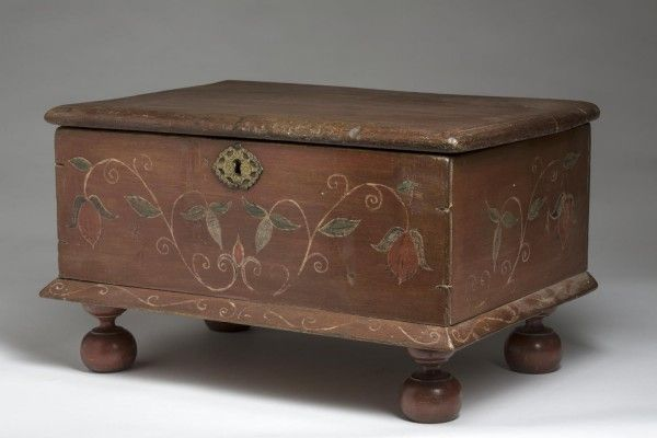 Early American Painted Bible Box On Turned Feet