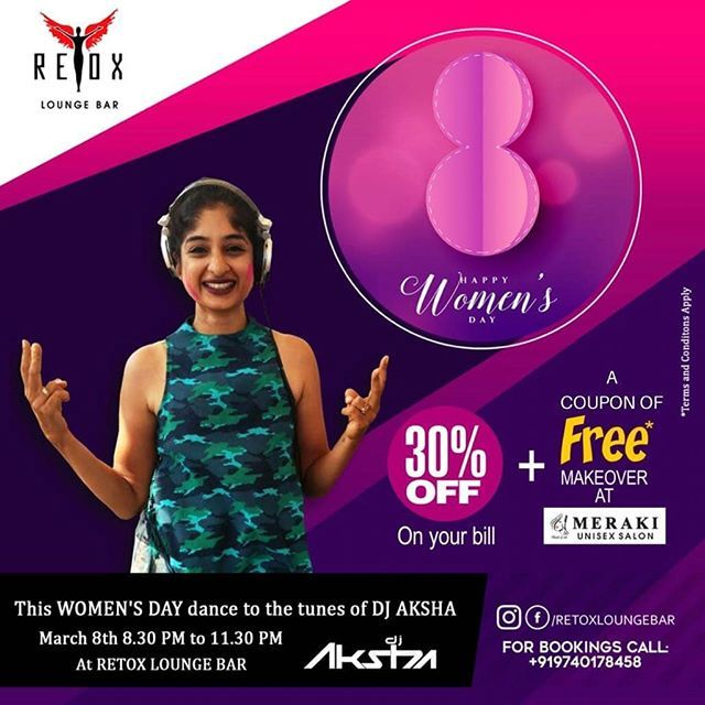 Happy Women's Day!!! This WOMENS'S DAY dance to the tunes of DJ AKSHA and receive 30% off on your bill at RETOX LOUNGE BAR   Get a free voucher of a makeover at  MERAKI UNISEX SALON (@merakimangalore) . . . . Check us out on Facebook and Instagram more updates: http://ift.tt/2AzgnNX http://ift.tt/2iXbc0c  Also follow our upcoming venture. @merakimangalore @merakimangalore @merakimangalore @merakimangalore  @merakimangalore @merakimangalore . . . . #RetoxLoungeBar #RetoxMangalore #Retox…