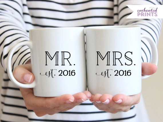Personalized Mr and Mrs Year Established Set, Ceramic mug, Bride and Groom Newlywed mugs, coffee mug gift, tea mug gift, 11oz mug