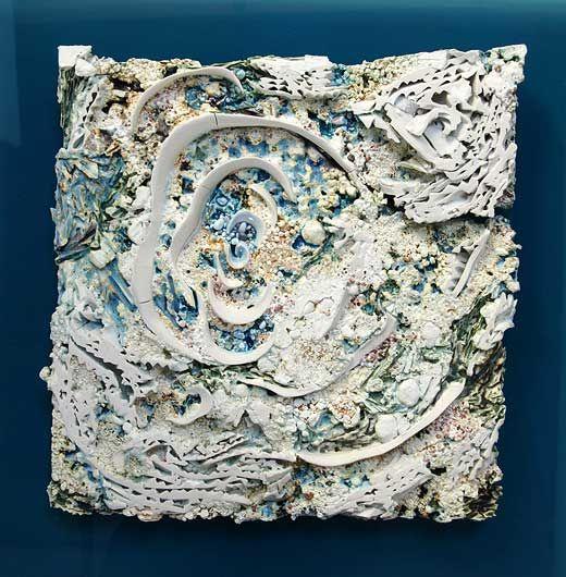 Ceramics by Jenny Beavan. Lagoon - wall piece - china clay with porcelain, glass, glazes and beach sands. 50cm x 50cm.