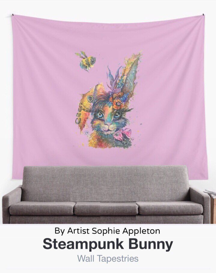 """Sophie Appleton Art on Twitter: """"Steampunk Bunny wall tapestry, search Redbubble for by Sophie Appleton to navigate to oodles more stuff :-)"""