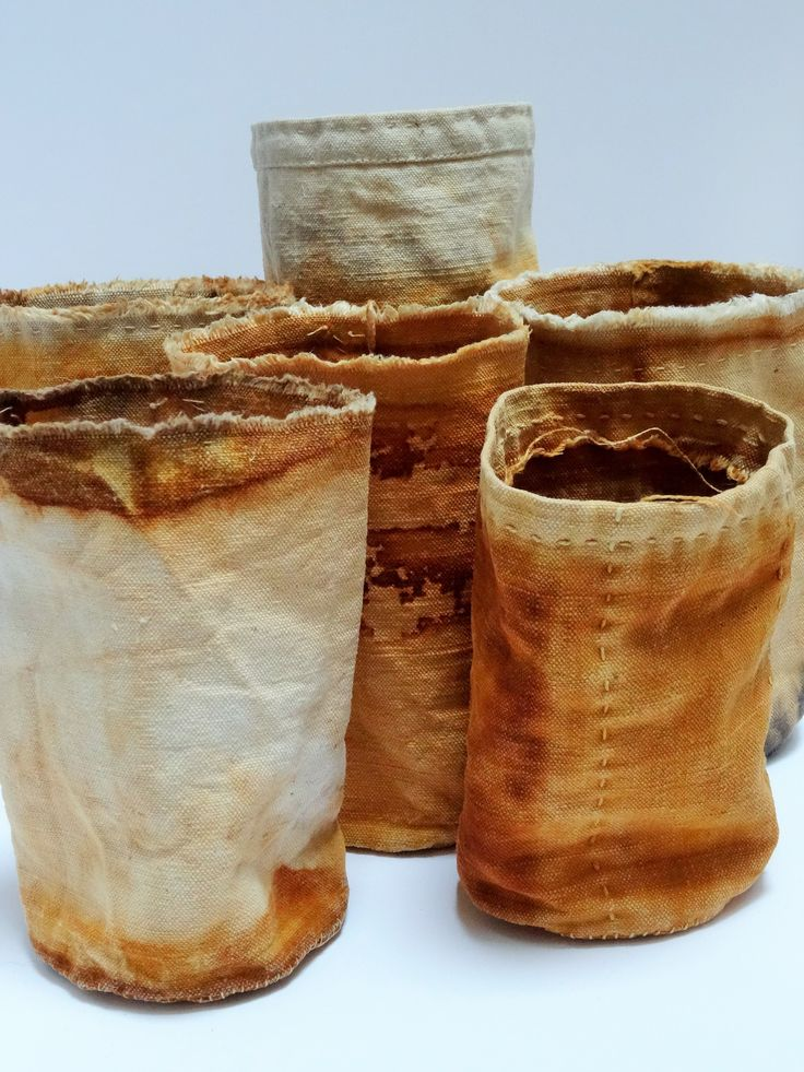 Rust dyed cloth vessels - hand stitched by Jule Mallett of www.hengrels.co.uk