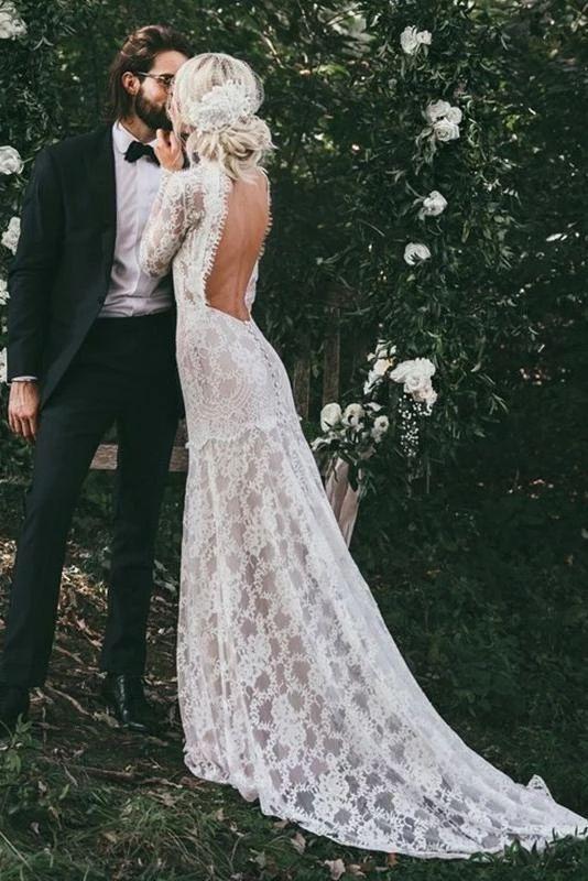High Neck Lace Appliques Long Sleeve Mermaid Beach Wedding Dresses Bridal Dresses W1071