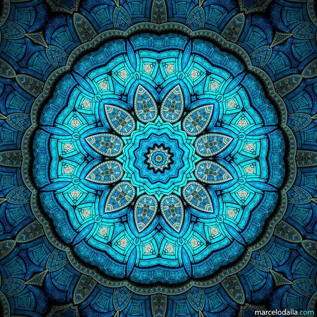 Flying Carpet - Marcelo Dalla   Mandala Art Print   Sacred Geometry   Blue Zentangle