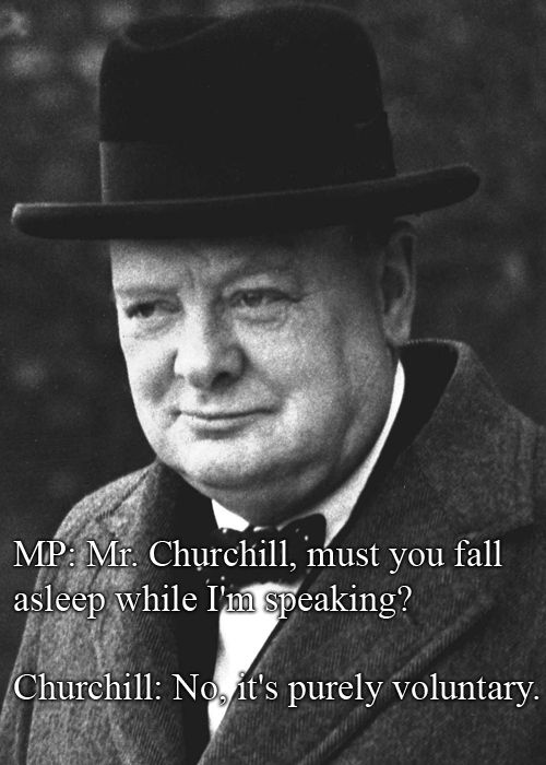 "MP: ""Mr. Churchill, must you fall asleep while I'm speaking?""  Churchill: ""No, it's purely voluntary."" ~ Winston Churchill"