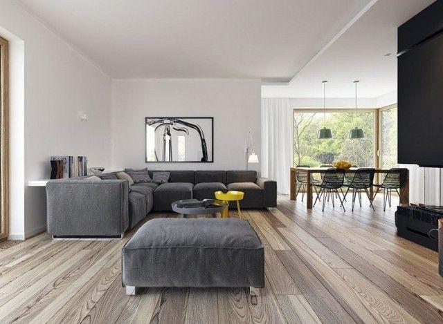 canapé gris moderne combiné de plancher bois massif chaleureux