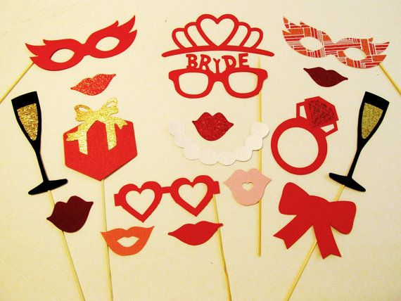 Wedding Photo Booth Props 18pc Red Bridal Shower Photo Props Wedding Photo Props Wedding Photobooth Bridal Shower Photo Props Bride Decor