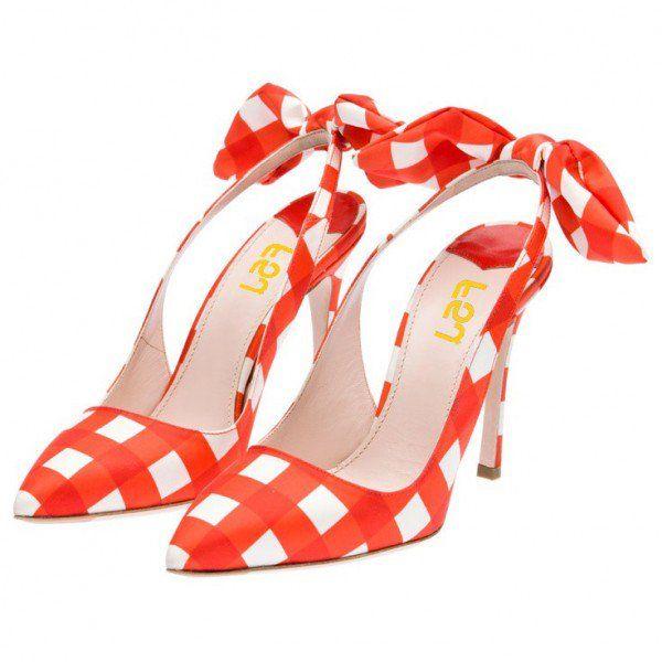 FSJ Pumps Orange Pumps Bows Slingback Fashion Sweet Plaid Stiletto Heel Shoes School Outfits Summer and Fall Outfits for School, Date, Honeymoon | FSJ