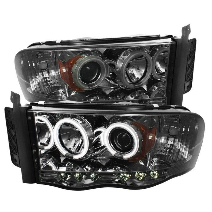 ( Spyder ) Dodge Ram 1500 02-05 / Ram 2500/3500 03-05 Projector Headlights - CCFL Halo - LED ( Replaceable LEDs ) - Smoke - High H1 (Included) - Low H1 (Included)