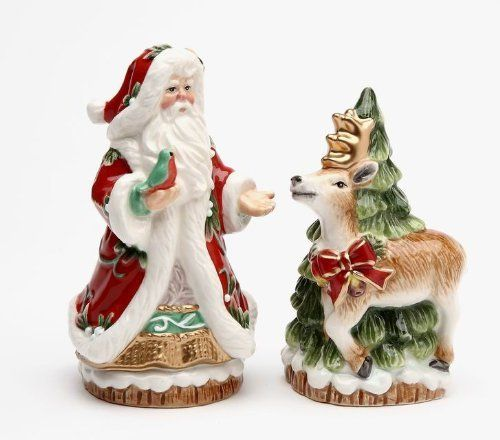 Elegant Victorian Harvest Santa & Reindeer Salt/Pepper Collectible by StealStreet. $16.88. Set an elegant table with these wonderfully detailed Victorian Harvest Santa and Reindeer Christmas Holiday Salt & Pepper Shaker S/P Set. New in gift box. Santa measures 4 x 2 1/4 x 2 1/4 inches, reindeer measures 3 3/4 x 2 1/4 x 1 3/4 inches. Beautifully hand painted details. Made of ceramic. This gorgeous Elegant Victorian Harvest Santa & Reindeer Salt/Pepper Collectible has the fin...