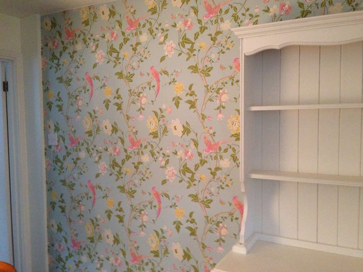 Dining room wallpaper summer palace duck egg by laura for Duck egg dining room ideas