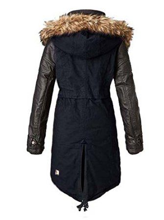 khujo damen parka mantel mallory blau schwarz gr l sport freizeit amazon fashion. Black Bedroom Furniture Sets. Home Design Ideas