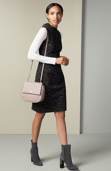 Halogen® Sheath Dress & Long Sleeve Tee Outfit with Accessories available at…